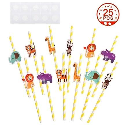 25 pajitas de papel para fiesta de la selva con diseño de paja de animales del bosque, para fiestas de bebé, decoración de fiesta de cumpleaños de ...