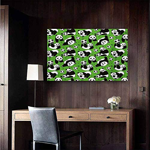 (duommhome Soccer Art Oil Paintings Funny Panda Animals Playing with Balls Hand Drawn Style Hearts and Stars Canvas Prints for Home Decorations 20