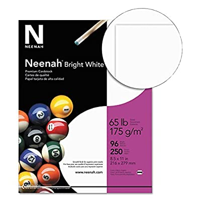 Neenah Paper 91904 Card Stock, 65lb, 96 Bright, 8 1/2 x 11, White, 250 Sheets
