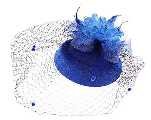 Fascinator Hats Pillbox Hat British Bowler Hat Feather Flower Veil Wedding Hat (Blue)
