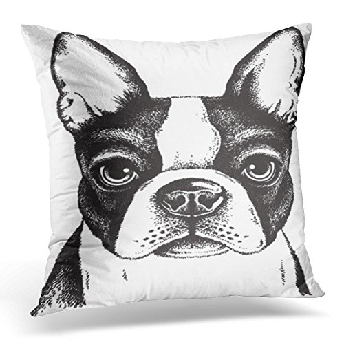 Breezat Throw Pillow Cover Animal Black and White Sketch of Fawn Boston Terrier's Face Dog Puppy Decorative Pillow Case Home Decor Square 18x18 Inches Pillowcase (And Terrier Black White)