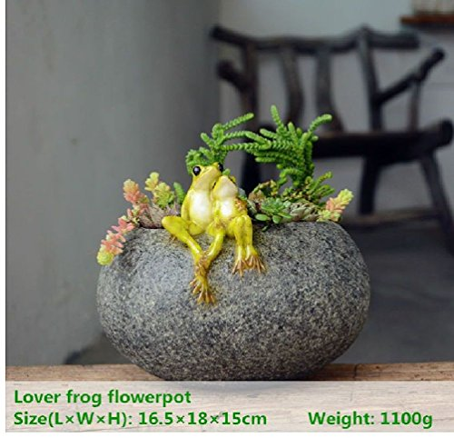 Fairy Garden Outdoor Ornament Lover Frog On Functional Stone Flowerpot For Succulents