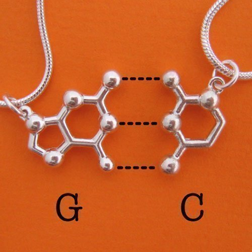 DNA RNA Base Pair Friendship BFF Necklaces in sterling silver by Made With Molecules