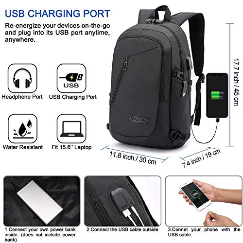 High Capacity Travel Laptop Water Resistant Anti-Theft Backpacks with USB Charging Port and Lock for Men Women College School Student Casual Hiking Halloween