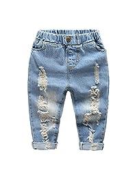 Little Baby Boys Girl Ripped Western Jeans Kids Girls Friend Style Denim Pants