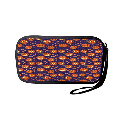 Neoprene Wristlet Wallet Bag,Coin Pouch,Halloween,Pumpkins Pattern Different Face Expressions Happy Angry Scary Puzzled,Orange Indigo Yellow,for Women and Kids ()