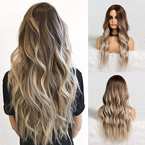 Synthetic Dark Root Light Brown Ombre Grey Long Wavy Hair Wigs Center Part Costume Wig for White Black Women