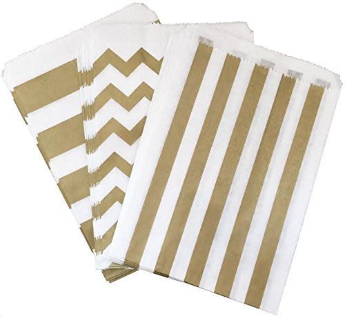 Outside the Box Papers Gold and White Chevron and Stripe Treat Sacks 5.5 x 7.5 48 Pack Gold, White