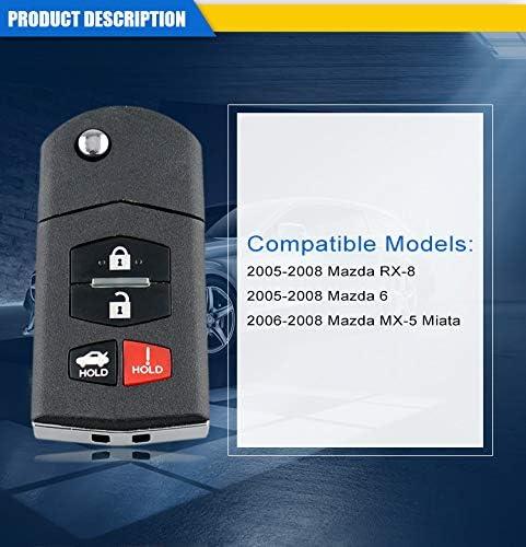 4 Buttons 313.8Mhz KPU41788 4D63 80Bit Chip Smart Entry Car Fob Remote Key For 2005-2008 Mazda 6 RX-8 MX-5 Miata
