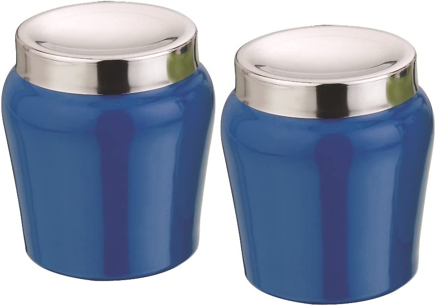 Kitchen kemistry Apple Stainless Steel Canisters with Convex Lid Set 2-Pieces Cobalt Blue