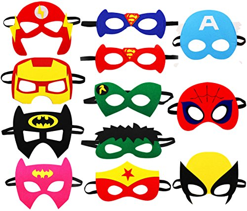 Superhero Party Mask, 12 pcs Cosplay Character Felt Masks Party Supplies for Boys and Girls -