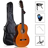 WINZZ Classical Guitar 39 Inches Full Size Nylon String Student with Bag, Tuner, Stand, Capo