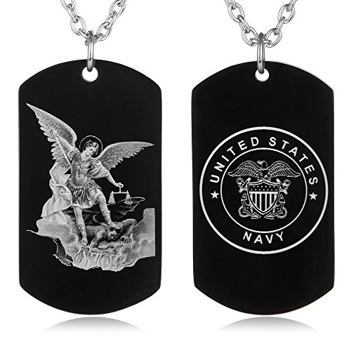 FAYERXL St. Saint Michael Archangel Protection Prayer Marine Corps Air Force Army Navy Coast Guard Dog Tag Necklace Religious Gift (Saint Michael Navy Dog Tag) -