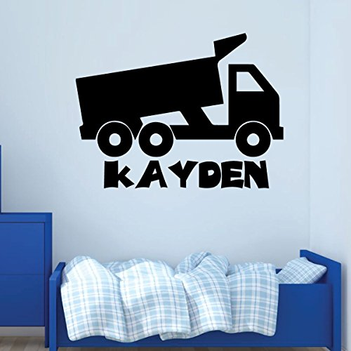 Dump Truck Wall Decal - Personalized Vinyl Decor Boy's Bedroom Decoration, Playroom or Children's Room Decoration (Wall Truck Modern)