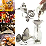 Gmgod❤️❤️gomaiZILIAO Creative Mini Funnel, Stainless Steel Funnels Set 3pc Canning Detachable Strainer Filter Mini Funnel