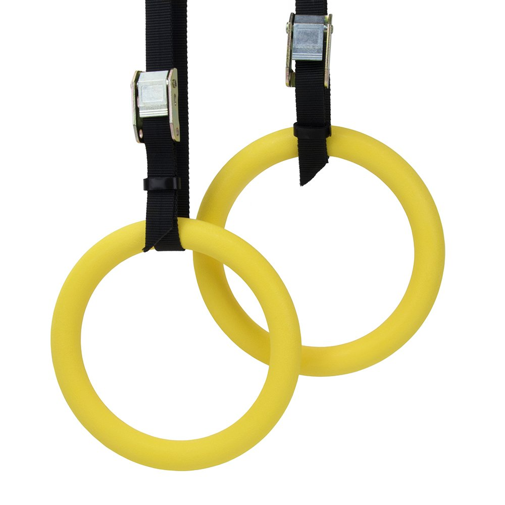 Polycarbonate Gymnastics Rings with Textured Grip and Adjustable Buckle Straps by Crown Sporting Goods