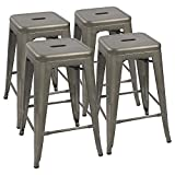 Devoko Metal Bar Stools 24' Indoor Outdoor Stackable Barstools Modern Style Industrial Vintage Counter Bar Stools Set of 4 (Gun)