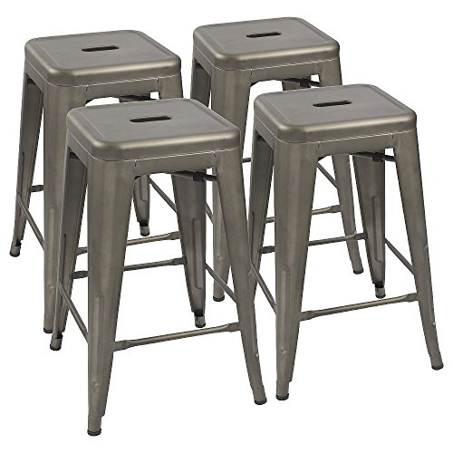 Devoko Metal Bar Stools 24'' Indoor Outdoor Stackable Barstools Modern Style Industrial Vintage Gun Counter Bar Stools Set of 4 (Gun)