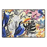 U LIFE Summer Tropical Animals Birds Floral Flowers Large Doormats Area Rug Runner Floor Mat Carpet for Entrance Way Living Room Bedroom Kitchen Office 63 x 48 Inch