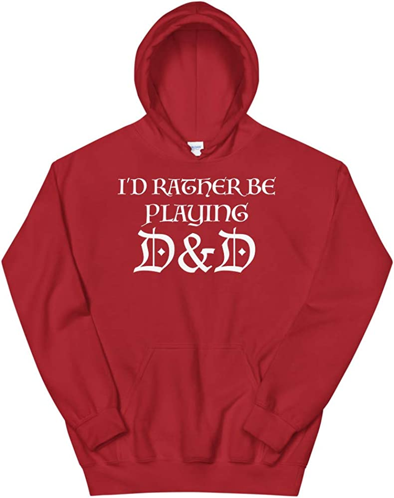 D20 Quotablee Id Rather Be Playing DND Hoodie Sweatshirt Funny Gift Dungeons DND