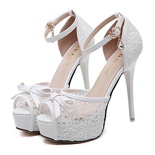 Zapatos de boda para mujer Tacones / Peep Toe / Plataforma / Confort / Novedad / Punta Redonda / Sandalias de punta abierta / negro Blanco Rosa GAOLIXIA Blanco