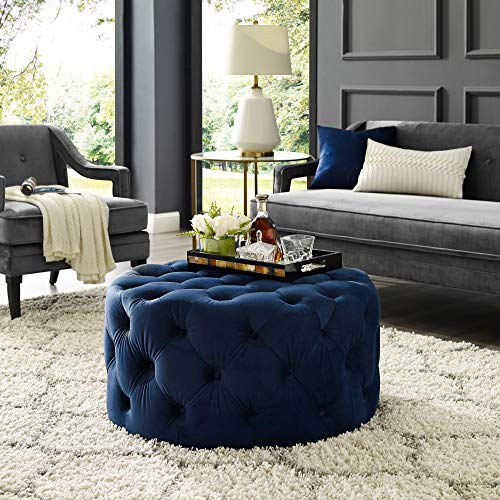 Inspired Home Navy Velvet Cocktail Ottoman - Design: Bella | Allover Tufted | Round | Castered Legs