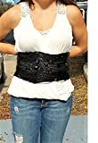 Victorian Black Waspie Belt Size 27'' to 36'', 1000's of Beads. 125 Years Old, I Reinforced OOAK Whale Bone Corset. Wear w/ Jeans or Dress. One of a Kind!