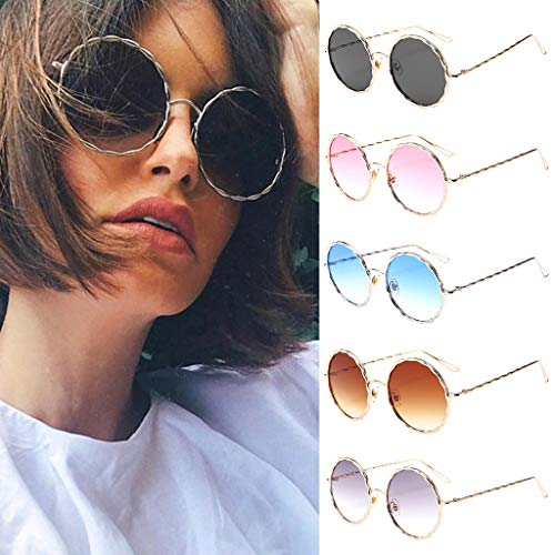 Haluoo Round Retro Polaroid Sunglasses Trendy Oversized Circle Mirrored Sun Glasses Hippie Hipster Glasses Metal Frame Eyewear for Men Women Unisex Fashion Accessories (Purple)