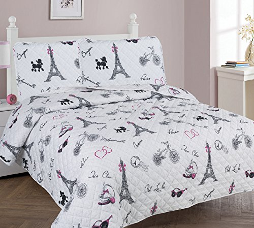 - Golden Linens Full Size 3 Pieces Printed Bedspread Coverlet Multi colors White Black Pink Paris Eiffel Tower Design Girls / Kids/ Teens # Paris Quilt