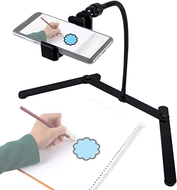 Adjustable Tripod with Cell Phone Holder, Overhead Phone Mount, Table Top Teaching Online Stand for Live Streaming_20 Must-Have Classroom Items That Will Make Teacher Life Easier