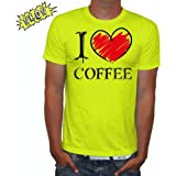 NEON Herren T-Shirt I love Coffee FUN