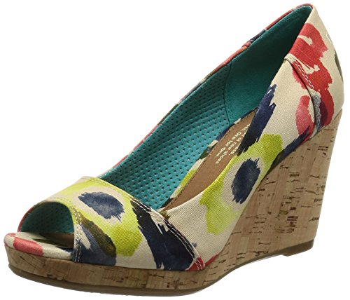 Toms - Stella Wedge (tangerine Watercolor Floral) Women's Wedge Shoes (7.5) - Toms Canvas Wedge Shoes