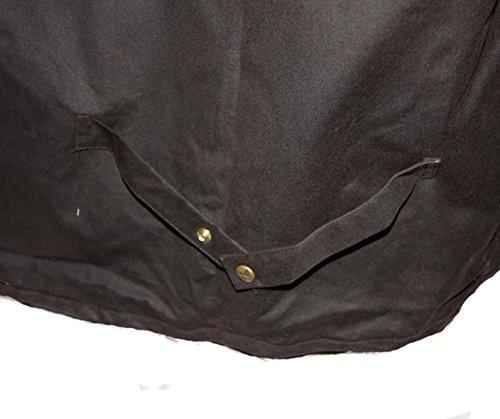Pliables Au Qualité En uni De fabriqué Marron Cire Et Chocolat Haute Porte Longueur Royaume Anglais Coton manteau Double Stockmans Wareproof Ciré Totale Respirant v8zxpqAU