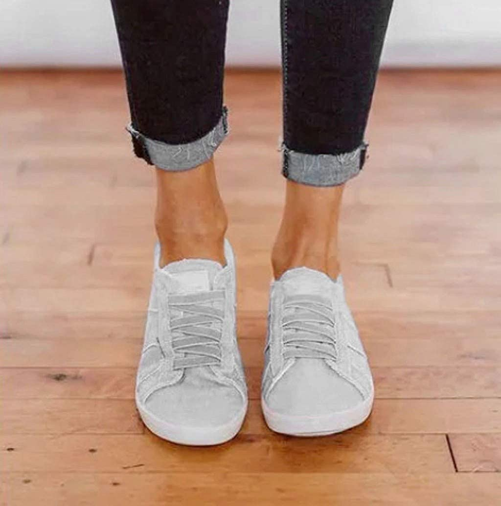 Nevera Women Classic Canvas Fashion Sneakers Low Top Slip-On Lace Up Comfortable Shoes Walking Flats Shoe Gray