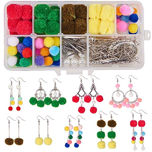 SUNNYCLUE 1 Box DIY 9 Pairs Pom Pom Ball Dangle Earrings Making Kit Bohemian Chandelier Long Chain Drop Jewelry Supplies Kits for Beginners Adults