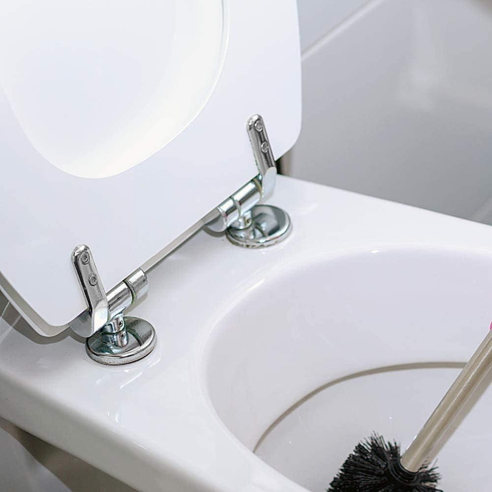 Cerniere Copriwater 8 Viti in Inox Compresi i Raccordi Cromato Cerniera WC Sedile Coppia di Cerniere Water di Ricambio Rifinite in Lega di Zinco per i Sedili