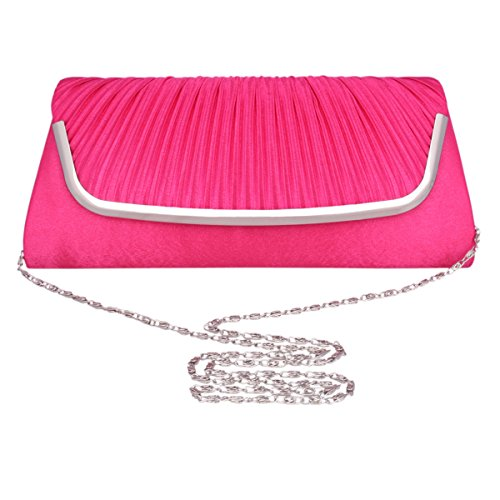 Long Frame Dinner Evening Bag Adoptfade Womens Red wine Wine Metal Clutch Pleated xXqxIZR