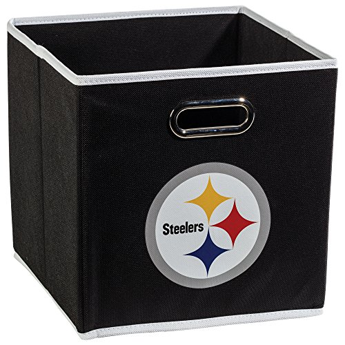 Franklin Sports NFL Pittsburgh Steelers Fabric Storage Cubes - Made To Fit Storage Bin Organizers (11x10.5x10.5