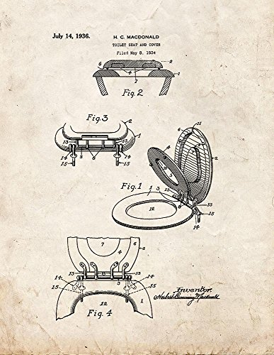 Toilet Seat And Cover Patent Print Art Poster Old Look (16' x 20')