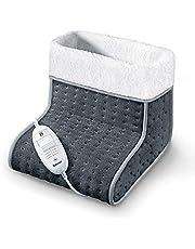 Beurer FW 20 Cosy voetenwarmer, elektrische voetverwarming met 3 temperatuurstanden en automatische uitschakelfunctie, machinewasbaar, grijs