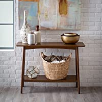 Entryway Wood Sofa Table with 2 Tier in Dark Walnut Finish 42W x 15.75D x 30H in.