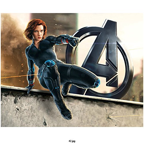 """Avengers Age of Ultron, Black Widow Jumping Over Wall with Avengers """"A"""" in Background 8 X 10 Inch Photo"""