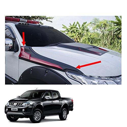 Powerwarauto Side Hood Guard Cover Trim Black Red 2 Pc Trim For Mitsubishi L200 Triton 2Dr 4Dr 2015 2016 2017 2018