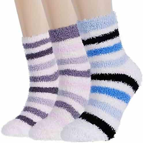 54eae5587b0 Plush Slipper Socks Women - Colorful Warm Crew Socks Cozy Soft 3 5 6
