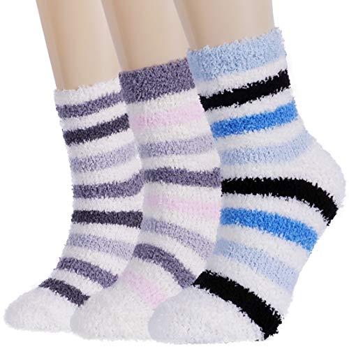 (Plush Slipper Socks Women - Colorful Warm Crew Socks Cozy Soft 3/5/6 Pairs for Winter Indoor (3 Pairs Pack(Strip series)))