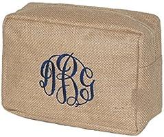 Women's Monogrammed Khaki Jute Burlap Cosmetic Make Up Bag