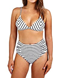 Seaselfie Women's Stripes Tow Piece High-waisted Padded Bikini Bathing Suit