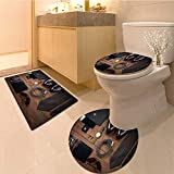 MikiDa Bathroom Non-Slip Floor Mat wood texture men s everyday objects on a dark background business Machine-Washable