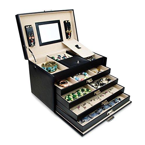 VENKON - Universal Schmuckbox mit Spiegel & 4 Schubladen für Schmuck & Kosmetik Aufbewahrung & Präsentation - Kunstleder Schwarz - 31 x 20 x 20 cm