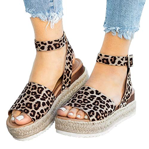 (Athlefit Women's Platform Sandals Espadrille Wedge Ankle Strap Studded Open Toe Sandals Size 6 Leopard)